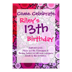 Cool Purple Pink Concentric Circles Girly Pattern Personalized Invitation