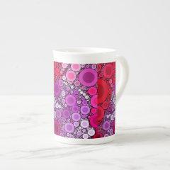 Cool Purple Pink Concentric Circles Girly Pattern Bone China Mug