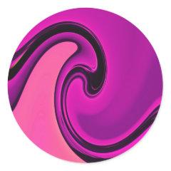 Cool Purple Pink Wave Abstract Art Design Sticker