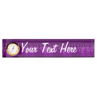 Cool Purple Racing Flames Design Desk Name Plate