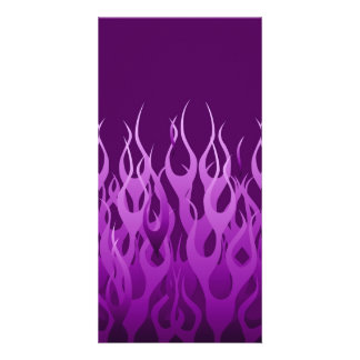 Cool Purple Racing Flames Design Photo Card
