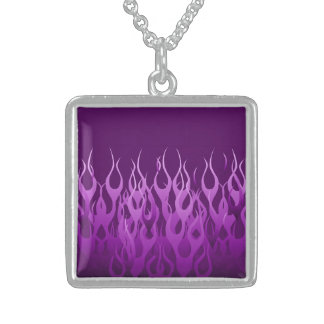 Cool Purple Racing Flames Graphic Sterling Silver Necklace