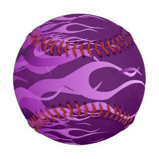 Cool Purple Racing Flames on carbon Fiber Print Baseball