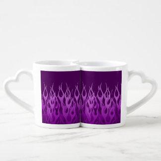 Cool Purple Racing Flames Pin Stripes Coffee Mug Set