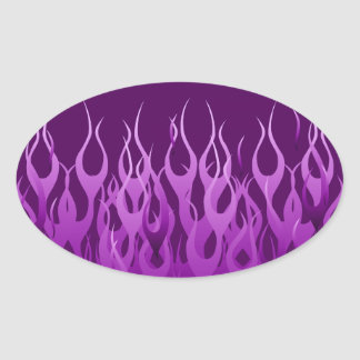 Cool Purple Racing Flames Pin Stripes Oval Sticker