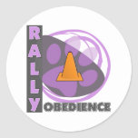 Cool Purple Rally Obedience Round Stickers