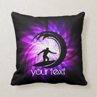 Cool Purple Surfing Throw Pillow
