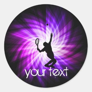Cool Purple Tennis Round Stickers