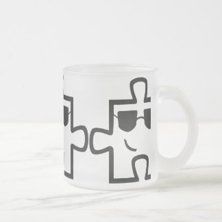 Cool puzzle cup 10 oz frosted glass coffee mug