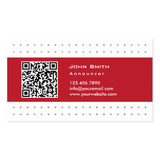 Cool QR Code Red Label Announcer Business Card