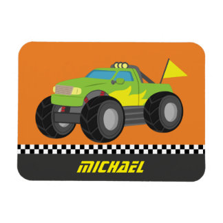 Cool Racing Green Monster Truck for Racer Boys Magnet