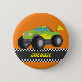 Cool Racing Green Monster Truck for Racer Boys Pinback Button