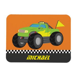 Cool Racing Green Monster Truck for Racer Boys Rectangular Photo Magnet