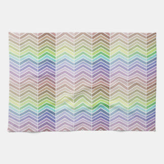 Cool Rainbow and Textured Chevron Pattern Hand Towels