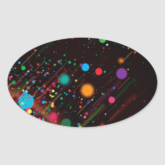 Cool Rainbow Color Abstract Design Oval Sticker