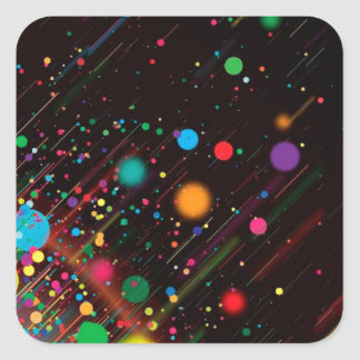 Cool Rainbow Color Abstract Design Square Sticker