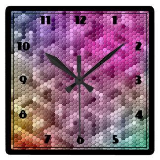 Cool Rainbow Color Mosaic Square Wall Clocks