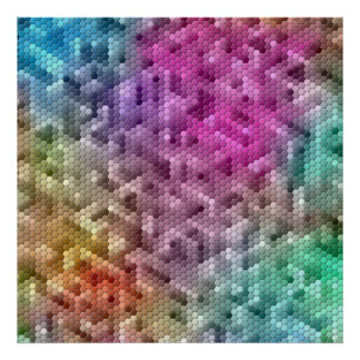 Cool Rainbow Color Mosaic Poster