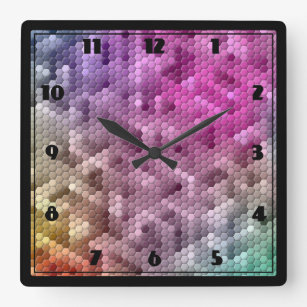 Cool Rainbow Color Mosaic Square Wall Clock de05e65413c78