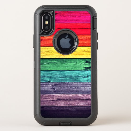 Cool Rainbow Colored Wooden Planks OtterBox Defender iPhone X Case