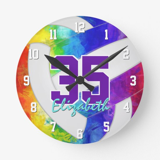 cool rainbow colors sporty personalized volleyball round clock