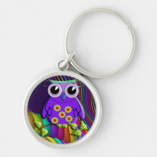 Cool rainbow forest Owl Keychain