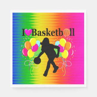 COOL RAINBOW I LOVE BASKETBALL PAPER NAPKINS
