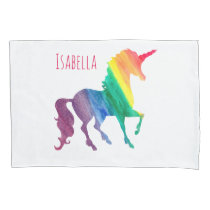 Cool Rainbow Watercolor Unicorn Beatiful Kids Pillowcase