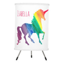 Cool Rainbow Watercolor Unicorn Beautiful Kids Tripod Lamp