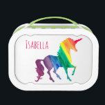 """Cool Rainbow Watercolor Unicorn Kids Beautiful Lunch Box<br><div class=""""desc"""">Cool Rainbow Watercolor Unicorn Pretty Kids Yubo Lunch Box. Design on both sides. Personalize this fun and colorful unicorn gift in bright pink font. Silhouette of unicorn in a rainbow of watercolor brushstrokes of red, orange, yellow, green, blue and purple. White background lets the bright colors stand out beautifully. Fun...</div>"""