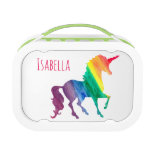 Cool Rainbow Watercolor Unicorn Kids Beautiful Lunch Box<br><div class='desc'>Cool Rainbow Watercolor Unicorn Pretty Kids Yubo Lunch Box. Design on both sides. Personalize this fun and colorful unicorn gift in bright pink font. Silhouette of unicorn in a rainbow of watercolor brushstrokes of red, orange, yellow, green, blue and purple. White background lets the bright colors stand out beautifully. Fun...</div>
