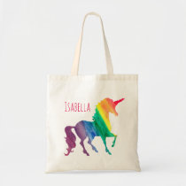 Cool Rainbow Watercolor Unicorn Pretty Kids Fun Tote Bag