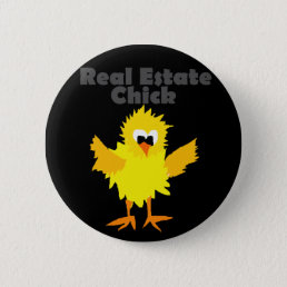 Cool Real Estate Chick Art Pinback Button