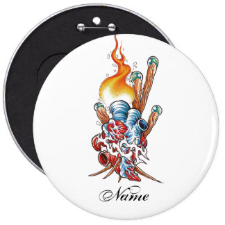 Cool Realistic Heart with Flame tattoo Pinback Buttons