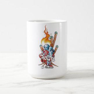 Cool Realistic Heart with Flame tattoo Coffee Mug