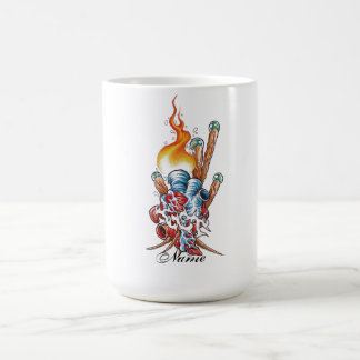 Cool Realistic Heart with Flame tattoo Classic White Coffee Mug