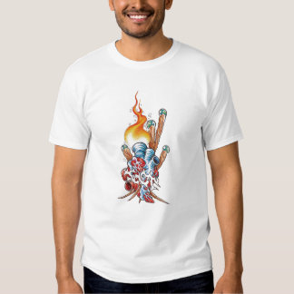 Cool Realistic Heart with Flame tattoo T-Shirt
