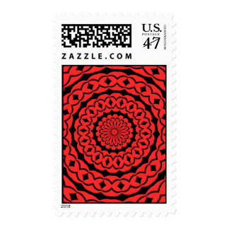 Cool Red and Black Postage Stamp