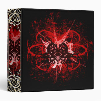 Cool Red and Black Tribal Heart Symbol Design Binder