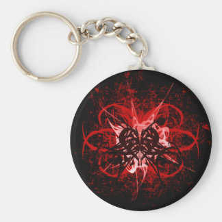 Cool Red and Black Tribal Heart Symbol Design Keychain