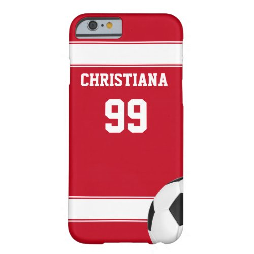 Cool red and white stripes jersey soccer ball Phone Case