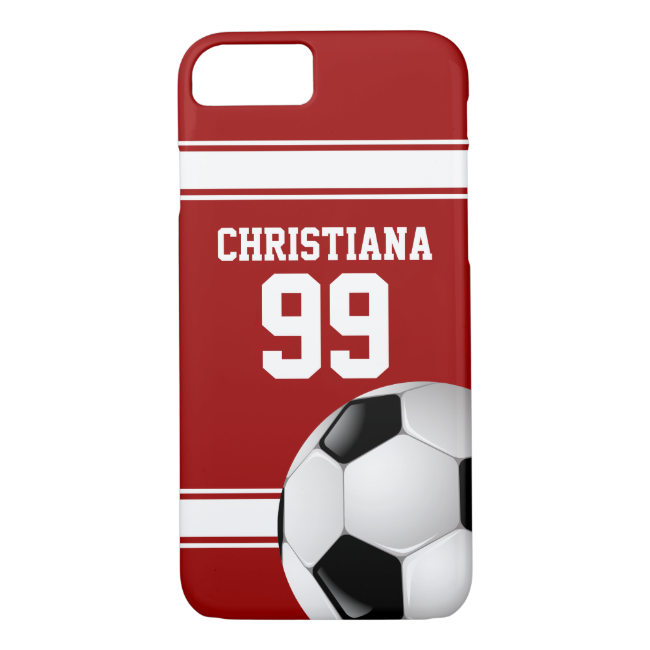 Cool Red and White Stripes Jersey Soccer Ball iPhone 7 Case
