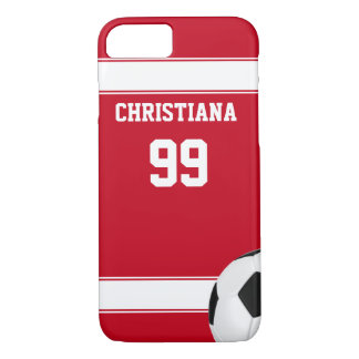 Cool red and white stripes jersey soccer ball iPhone 8/7 case