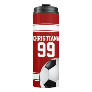 Cool Red and White Stripes Jersey Soccer Ball Thermal Tumbler