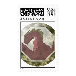 Cool Red And Yellow Dragon Gem Stamps