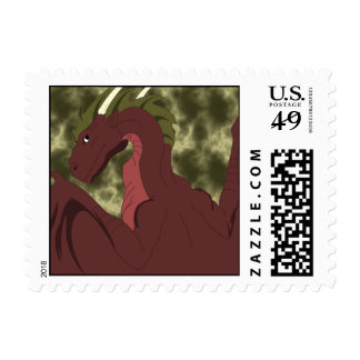 Cool Red And Yellow Dragon Stamp