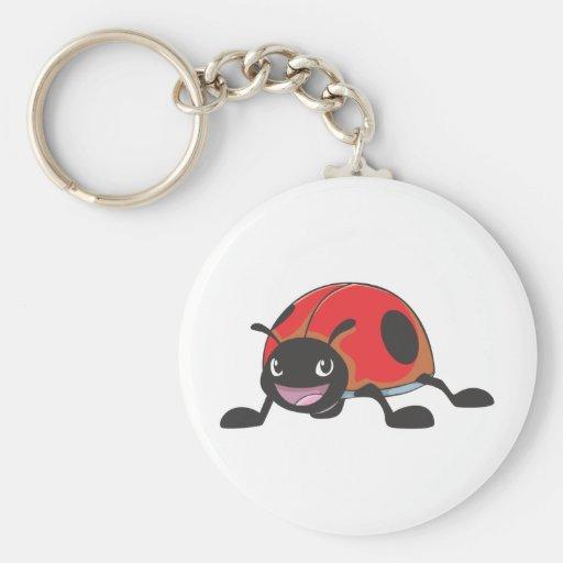 Cool Red Baby Ladybug Cartoon Basic Round Button Keychain