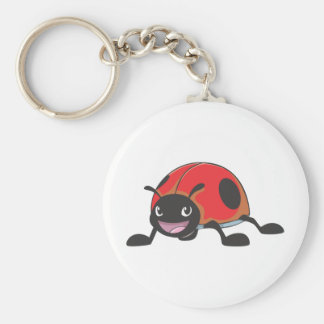 Cool Red Baby Ladybug Cartoon Basic Round Button Keychain