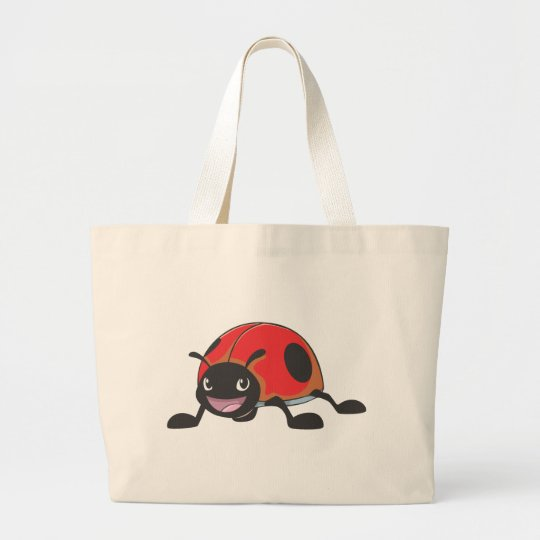 Cool Red Baby Ladybug Cartoon Large Tote Bag