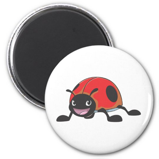 Cool Red Baby Ladybug Cartoon Magnet